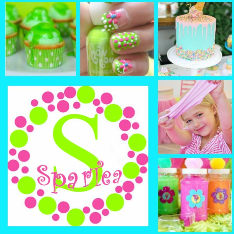 a collage of images from a spa party for girls with cakes, cupcakes, and painted finger nails
