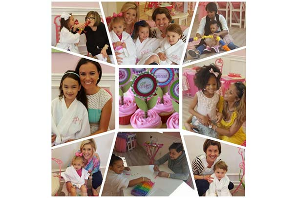 a collage of images of mothers with their daughters enjoying mommy daughter spa parties